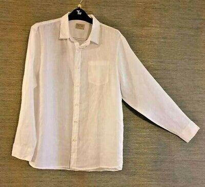 Mens J.A.C.H.S Pure Linen Long Sleeve Summer Shirt Cool White  XL BNWTs New