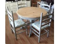 Beautiful Shabby Chic Solid Pine Painted Dining Table and Chairs