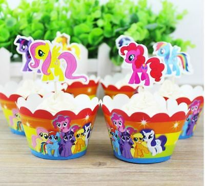 My little Pony Kid's Cupcake Wrapper+Topper Kit Set of 1 Dozen](My Little Pony Cupcake Toppers)