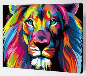 Painting by Numbers kit Multi-colored Lion Wild Animal Power Strong DIY ML7142