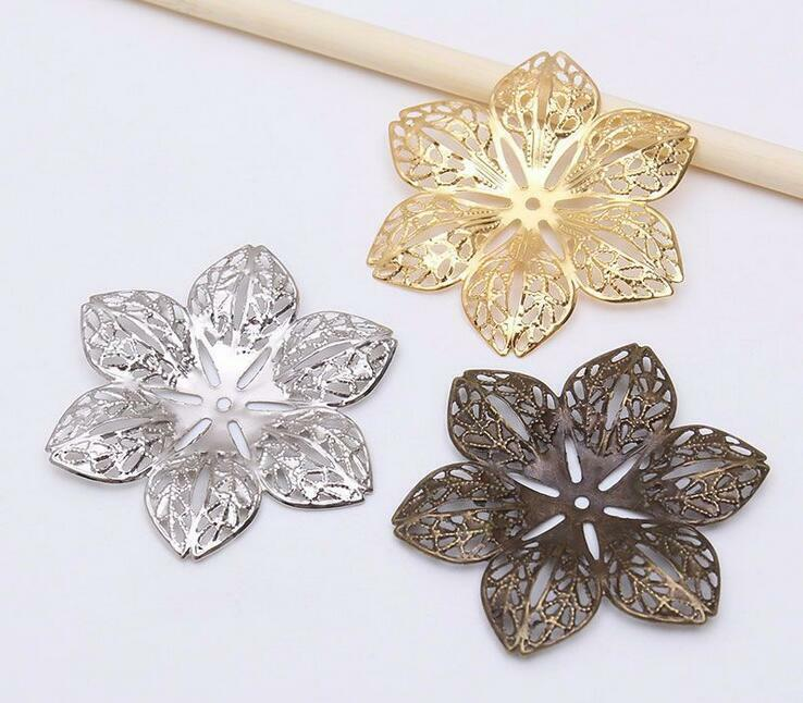 20X Filigree Flower Connectors For Jewelry Making DIY Accessories Charm Pendant