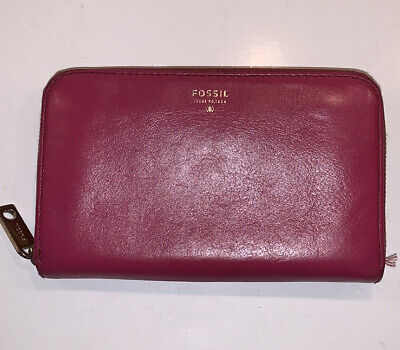 Fossil pink leather zip around wallet
