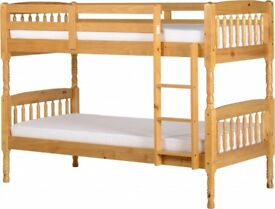 WHITE WOODEN BUNK BED - SINGLE TOP + SINGLE BOTTOM + LUXURY MEMORY FOAM ORTHOPAEDIC MATTRESSES