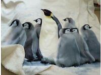 Large next penguin scene blanket / throw