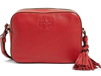 NWT TORY BURCH Thea Leather Crossbody Shoulder Bag in Rust Red w/ Gift Bag $450