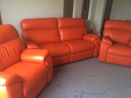 LEATHER SOFA SET. ONE 2.5 SEATER & TWO 1 SEATERS, ALL RECLINERS. Warrnambool 3280 Warrnambool City Preview