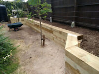 New treated timber sleepers approx 125mm x 250mm x 2400 mm