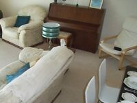 6 piece suite-upholstered 1 , 2, & 3 seaters, side table and matching coffee table