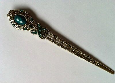 Vintage hair sticks Japanese Chinese style hair pin with stone flower design ()