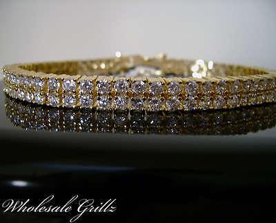 $150 Mens 2 Row Gold Gp Simulate Diamond Toni Tennis Bracelet Hiphop Bling