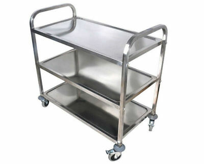 Commercial 3-shelf Stainless Steel Kitchen Restaurant Utility Cart With 4casters