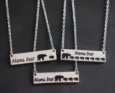 (1pcs silver gold letter mama bear 7 cubs pendant necklace family mother's gift)