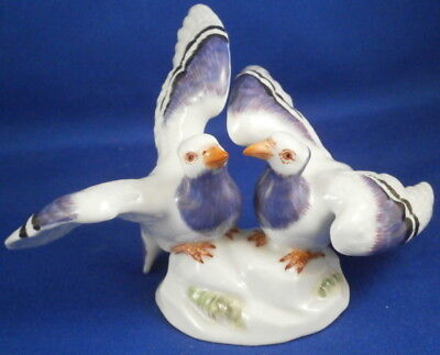 Superb Meissen Porcelain Pigeon Bird Pair Figurine Porzellan Vogel Figur Figure