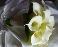 Pretty White & Ivory Calla Lily Wedding Bouquet Flowers.