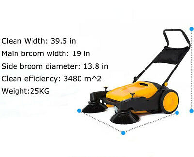 Intbuying Triple Brush Push Power Sweeper Pavement Sweeper 39.5 Free Shipping