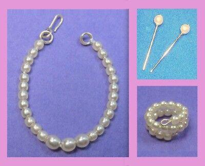 Barbie Dreamz CREAM Graduated Pearl Necklace Earrings Bracelet LOT Vintage REPRO