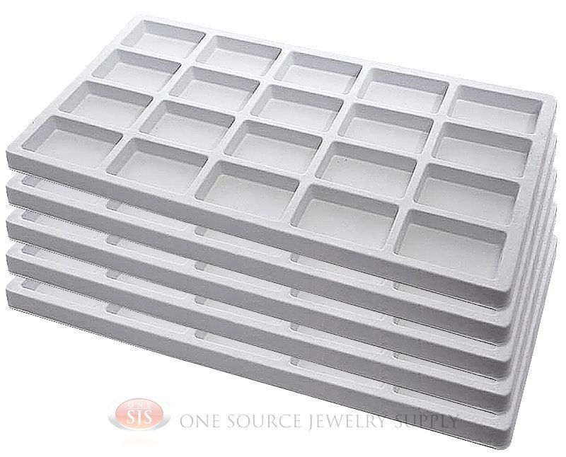 5 White Insert Tray Liners W/ 20 Compartments Drawer Organizer Jewelry Displays