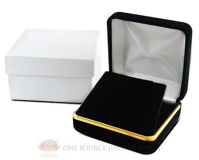 Black Velvet Pendant Necklace Earrings Jewelry Gift Box 2 58 X 2 58 X 1 38