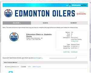 Below Face Value Row 9 Club Oilers vs Ducks Saturday April 1 Edmonton Edmonton Area image 5