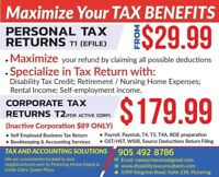 AFFORDABLE PERSONAL / CORPORATE  TAX RETURNS PREPARATION /FILING