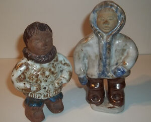 two inuit 1991 pottery figurines made in Canada