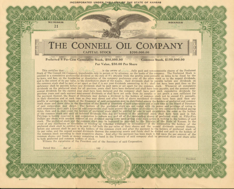 The Connell Oil Company > 1921 Kansas preferred stock certificate green share