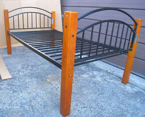 Metal/Wood Single Bed with board to support a mattress($$), read