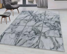 New XL 160x230cm white silver marble print rug