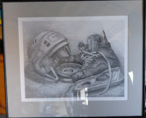 Hand drawn Hockey Skates and Helmet 20 x 24 inches
