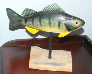 Hand Wood Carving and Painted on Stand by R.Hurd 1976
