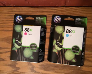 Lot of 2 HP 88XL High Yield Ink Cartridge. Cyan and Magenta.