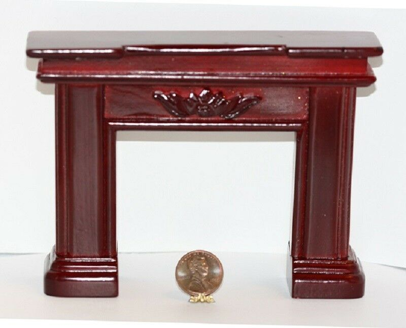 Dollhouse Miniature Mahogany Fireplace Mantle