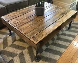 Recycled Wood and Iron Pipe Industrial Style Coffee Table