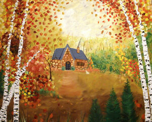 Cottage in the Woods Original Acrylic X-Large
