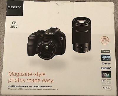 Sony Alpha A3000 DSLR Camera 20.1MP - Lens Bundle (E OSS 18-55mm / 55-210mm) for sale  Shipping to Canada