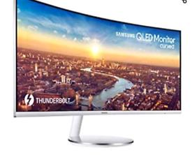 "SAMSUNGC34J791 Quad HD 34"" Curved LED Monitor - White & Silver"