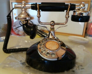 Vintage Black Rotary Dial Telephone