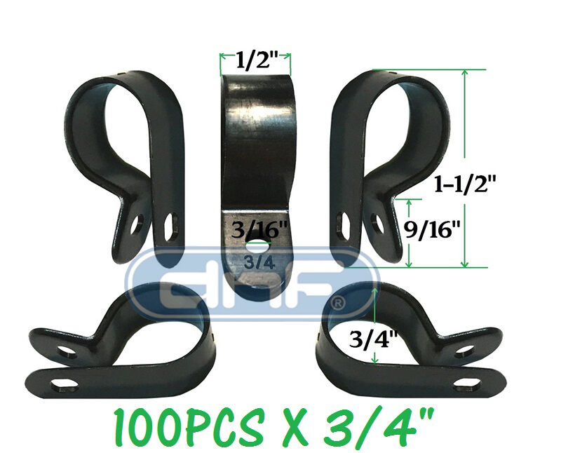 """100 PACK 3/4"""" BLACK NYLON R-TYPE CABLE CLAMP UV WEATHER RESISTANT - SHIPS TODAY!"""