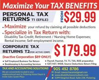 AFFORDABLE/ RELIABLE CORPORATE /PERSONAL TAX RETURNS PREPARATION