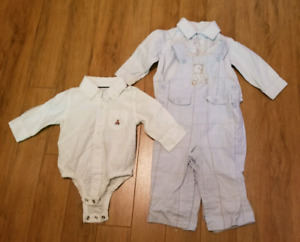 3-6 months boy overalls and plaid button-front shirts