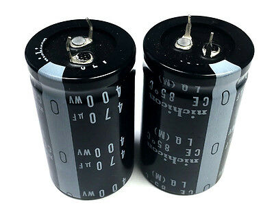 New 470uf 470 Uf 400v Radial Electrolytic Capacitors Nichicon 2pc Lot