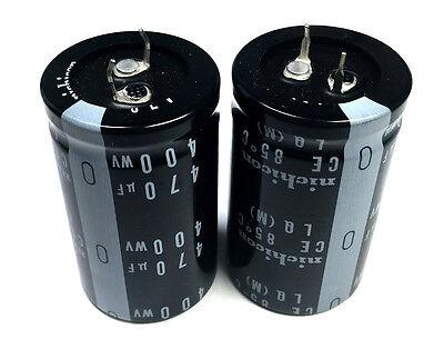 New 470uf 470 Uf 400v Radial Electrolytic Capacitors Nichicon 2pc Lot