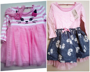 The Children's Palace  Baby Girls Strip Pink Dresses