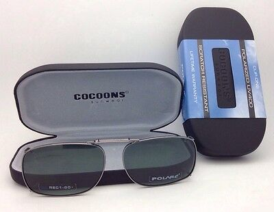 COCOONS Grey Polarized Sunglasses/Eyeglasses Over Rx Clip-on REC 1-50 Gunmetal