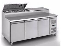 Brand New Inox 3 Door Refrigerated Prep Counter on Castors 1 year warranty
