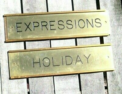 Vintage Solid Brass & Copper Company Door Wall Signs ~ HOLIDAY & (Copper Solid Brass Wall)