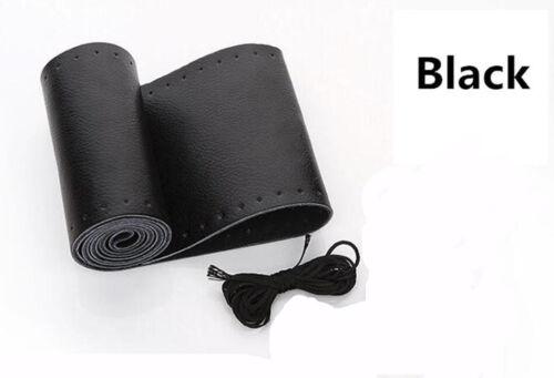 Car Auto DIY Black Genuine Leather Steering Wheel Cover Wrap Sew-on Kit 38CM