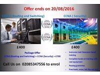 Instructor Led CCNA (Routing & Switching) and CCNA (Security) training in just £700