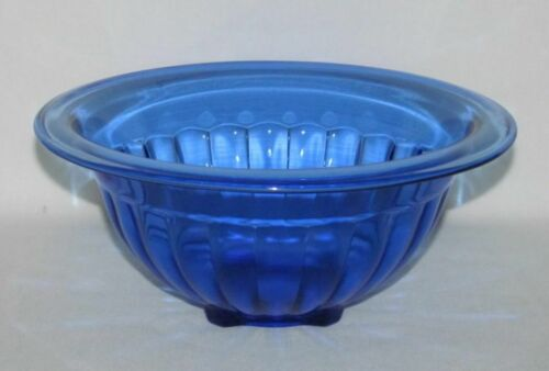 Kitchenware Hazel Atlas PANELED OPTIC Cobalt Blue Medium Rolled-Edge Mixing Bowl