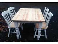 Solid wooden Pine Farmhouse Table & 4 Pine Farmhouse Chairs
